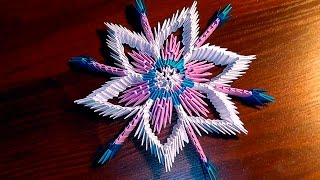 3D origami snowflake tutorial instruction N3 for beginners