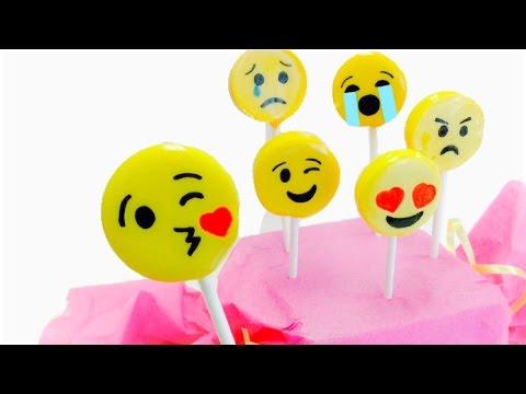 EMOJIS:How to make emoji lollipops EASY 3 INGREDIENTS
