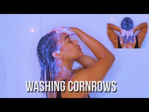 WASH DAY FOR 1 MONTH OLD CORNROWS | HOW TO WASH THEM