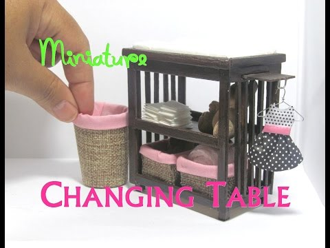 DIY Changing Table and Baskets Dollhouse Furniture Miniature Furniture Baby Nursery