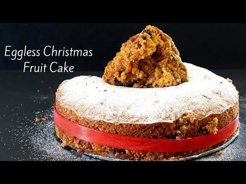 Eggless Christmas Fruit Cake - Eggless Plum Cake - Traditional Christmas Cake - Soaked Fruits Cake