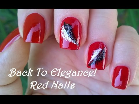 Elegant RED NAIL ART With Black & White Feathers / DIY Pretty Nails