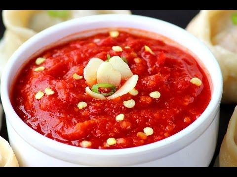 Momos chutney - Red chilli and garlic hot chutney for Momos