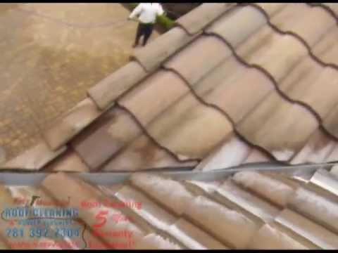 Cleaning the tile roof on a three story house April 2013