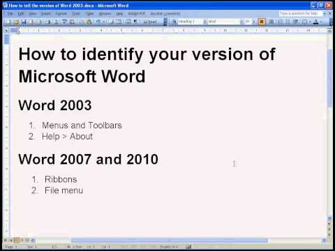 How to tell what version of Microsoft Word you are using
