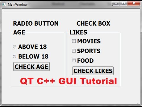 QT C++ GUI Tutorial 30- How to Use QCheckBox and QRadioButton Qt