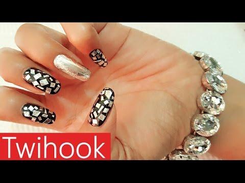Aluminium foil nail art by Priyanka