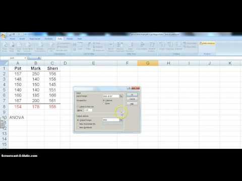 ANOVA test using MS Excel
