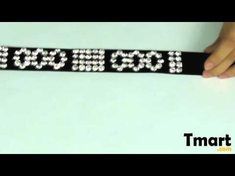 $11.06 Women Rhinestone Studded Needle-pin Buckle Leather Belt Black-11001487