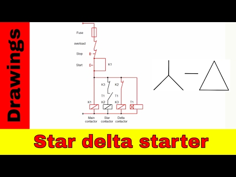 Star-delta starter control and power circuit diagram.