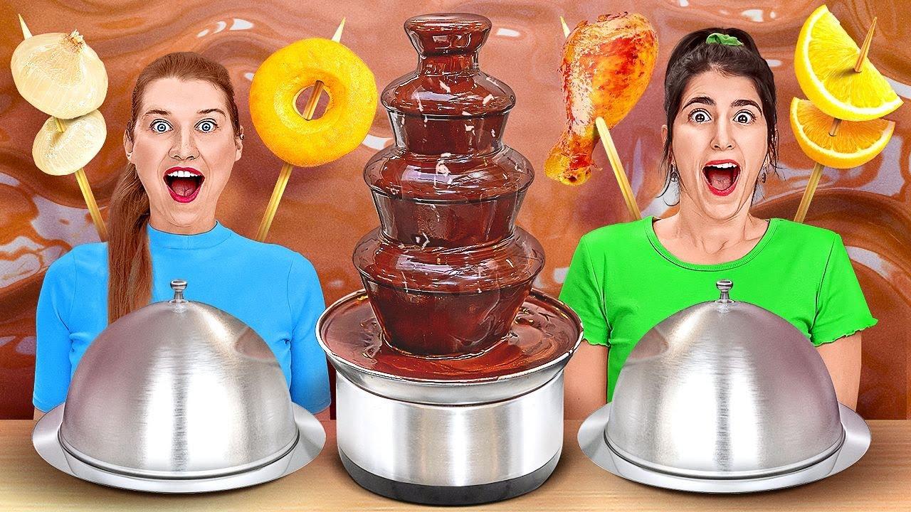 Download TANTANGAN FONDUE AIR MANCUR COKELAT || Cokelat VS Makanan Asli selama 24 Jam oleh 123 GO! CHALLENGE MP3 Gratis