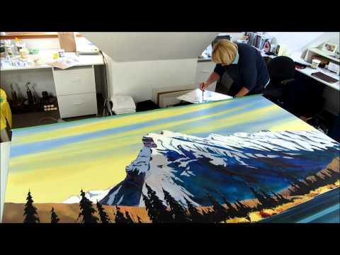 Phillipa Hudson paints Mt Rundle in Banff National Park, Canada.
