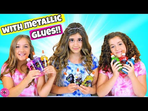 3 Colors of Glue Slime Challenge Part 2! With METALLIC GLUES!