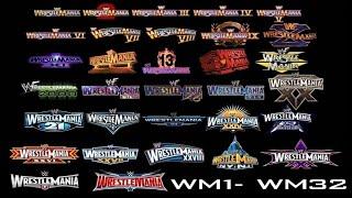 WWE Wrestlemania LOGO History WM 1-WM 32