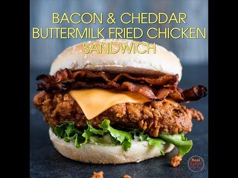 Buttermilk Fried Chicken Sandwich w Bacon & Cheddar - Crunch, Juicy Fried Chicken Marvelousness