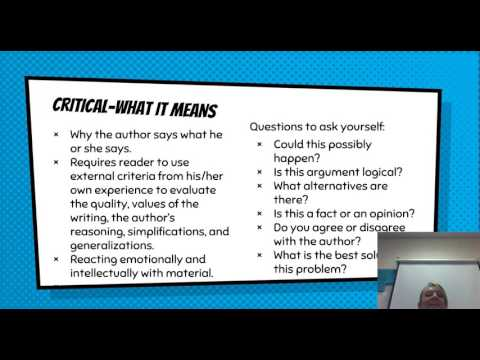 Literal, Inferential, and Critical Reading--Three Ways of Thinking