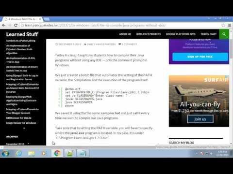 Installing JDK Windows 7 - 05 - Create Batch File to Compile Java Programs