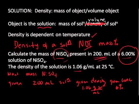 Density of solution