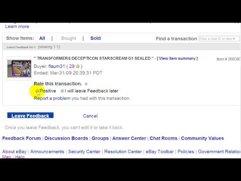 eBay Video 27 of 34: Watch Me Leave Feedback For A Buyer
