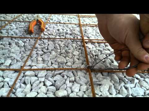 Tie wire mesh or rebar with tiewire for concrete pour