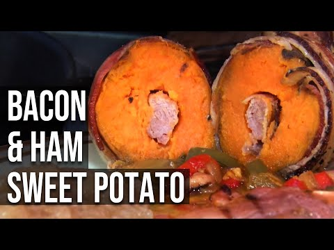 Bacon and Ham Stuffed Sweet Potatoes