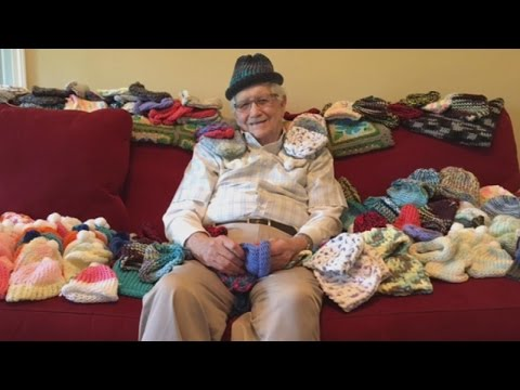 86-Year-Old Grandpa Learns To Knit So He Can Make Premature Babies Tiny Hats