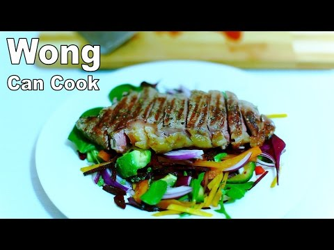 How to cook Steak with Salad & Lamb Chop with veg Chow Mein - Wong Can Cook