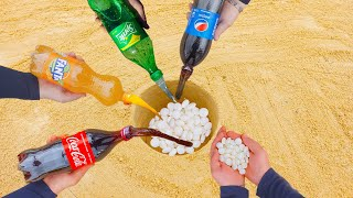 Experiment Coca Cola, Fanta, Sprite, Pepsi vs Mentos Underground