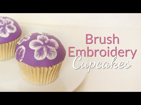 Brush Embroidery Cupcake Tutorial