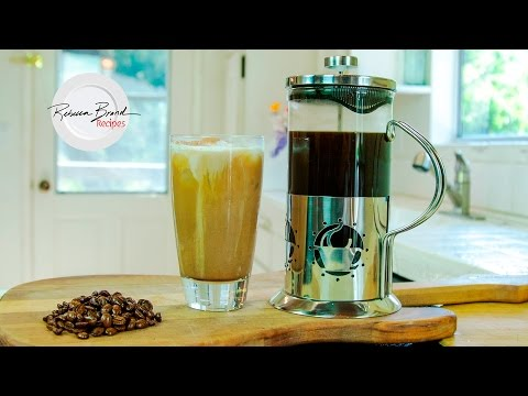 How to Make a Chocolate Vanilla Cream Cold Brew Iced Coffee with a French Press | RECIPE