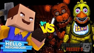 Minecraft FNAF CHICA VS HELLO NEIGHBOUR - THE NEIGHBOUR HAS CHICA