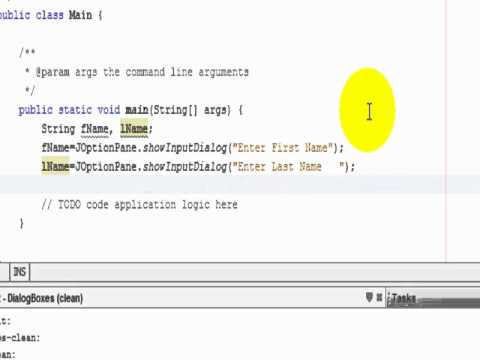 jOptionPane Class for Easy Input Output with Dialog Boxes Example