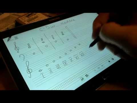 Write musical notes on a Samsung Galaxy Note 10.1 in S Note