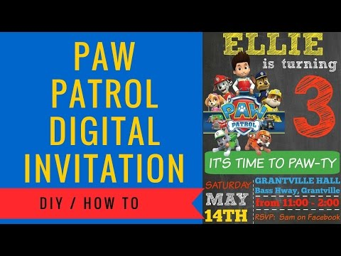Paw Patrol Digital Invitation How to make | Includes FREE Clipart