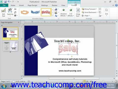 Publisher 2010 Tutorial Inserting WordArt Microsoft Training Lesson 3.9