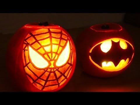 Halloween Pumpkin Superheros - Spiderman & Batman