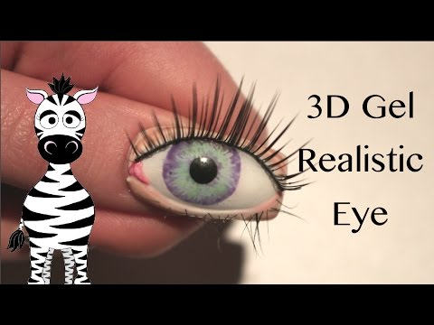 3D Realistic Eyeball Gel Nail Art Tutorial