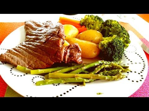 Sirloin steak with steamed vegetables Recipes