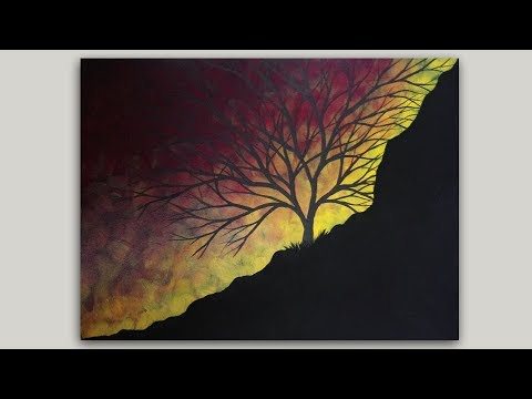 Acrylic Painting Surreal Sunrise Tree Silhouette Painting