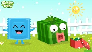 Shape for Kids Part 1 (Candybots) - Learn shape with candy Fruit - Circle, Square, Triangle...
