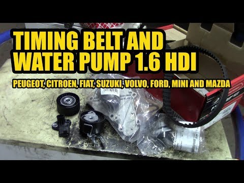 How to replace a timing belt and water pump 1.6 HDI on a Peugeot, Citroen ect.