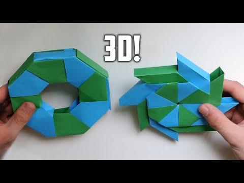 3D Origami Transforming Ninja Star. (Instructions) (Ray Bolt)