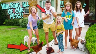 WE Tried walking ALL of our 16 PETS at one TIME!!