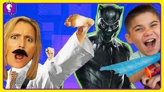 Black Panther VS HobbyMommy Karate Adventure! Nerf Scavenger Toy Hunt by HobbyKidsTV