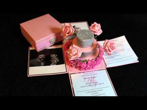Rose Cake Exploding Box Wedding Invitation