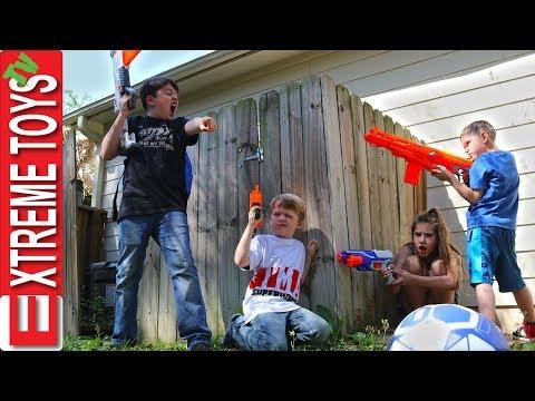 Soccer Ball Rescue! Nerf Battle Vs.The Super Hero Kids!