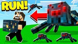 Building a SPIDER FARM in Hardcore MINECRAFT