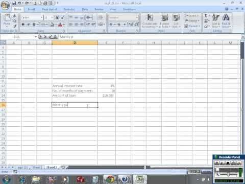 Calculate monthly payment of a loan in Excel