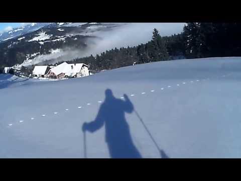 Skiing hard snow