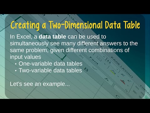 How to Create a Two-Variable Data Table in Microsoft Excel